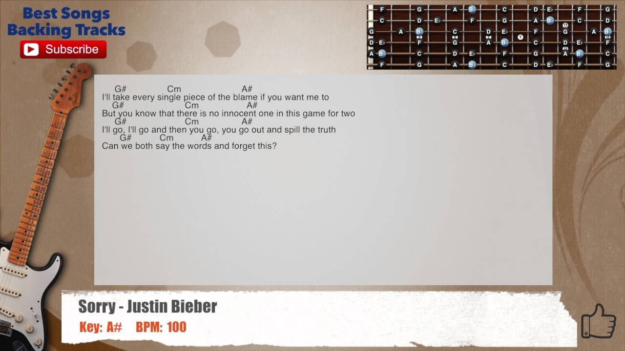 Sorry Justin Bieber Guitar Backing Track With Scale Chords And