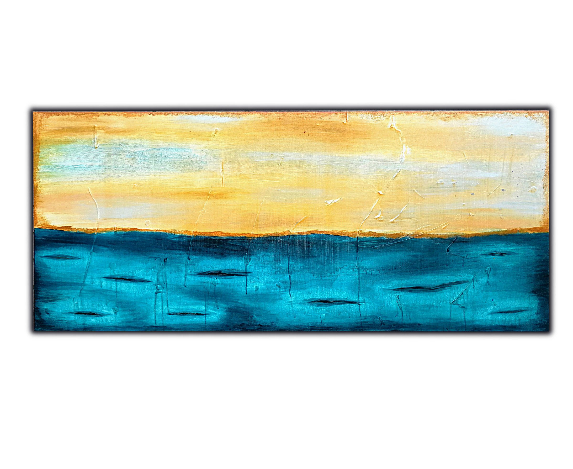 Large Turquoise Blue Abstract Painting on Canvas, Original Modern ...