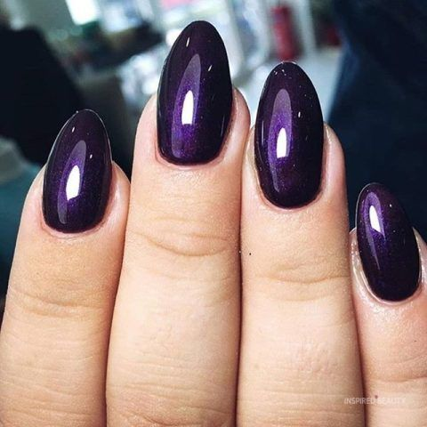 20 Gorgeous Dark Purple Nails To Inspire Your Next Mani Inspired Beauty Purple Acrylic Nails Dark Purple Nails Purple Nail Designs