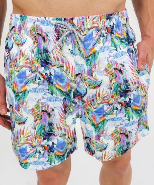 6616e5b153 Men's Parrots Print Swim Trunks- White - Michael's Swimwear | Men's ...