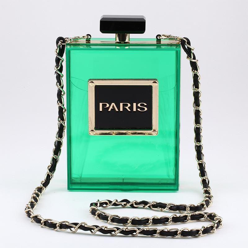 35041f9b22cf4 Famous Brands Bags Metal Clutch Acrylic Perfume Bottle Transparent Clear  Shoulder Handbags