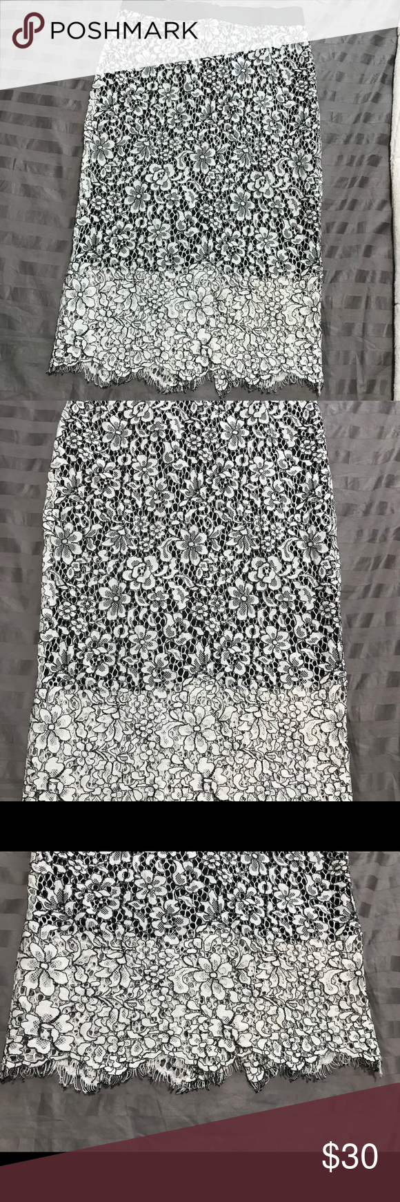 black & white pencil skirt.  Never Worn. Size 4 pencil skirt from Express.  Zip back.  I just don't have anywhere to wear this to!  New Condition. Express Skirts Pencil