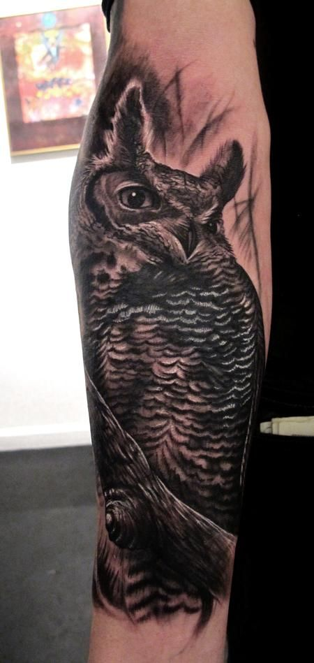 Owl Coverup Tattoo By Stefano Of New York City, NY