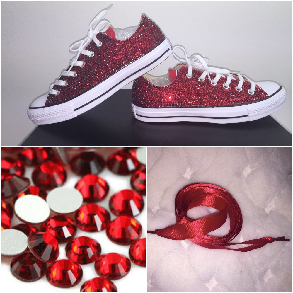 All Star Converse Blinged With Siam Red Diamond Crystals All Sizes Free Shipping Worldwide Customise Your O Red Wedding Shoes Red Converse Rhinestone Converse
