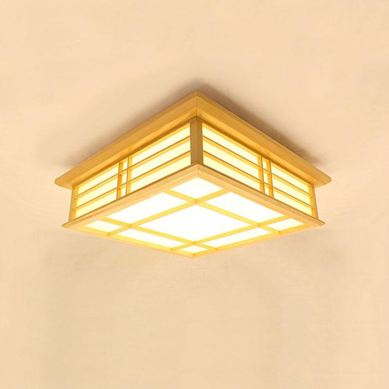 Minimalismus Deckenlampe Led Aus Holz Eckig Fur Schlafzimmer