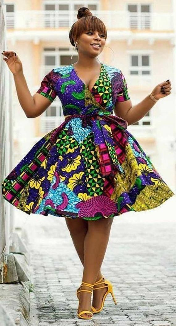 African dress, African print wrap dress, African outfits, African style, dress, Ankara dress #africandressstyles