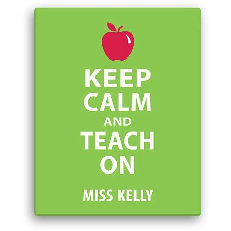 Personalized Keep Calm and Teach On 11 inch x 14 inch Canvas, Green