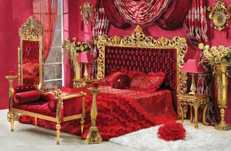 Superbe Red+and+gold+bedroom | ... Bedroom In Gold Finish Red Or White Capitone  Bedroom In Gold Finish