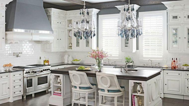 Cocina creativa e inspiradora en blanco Interiores para cocina