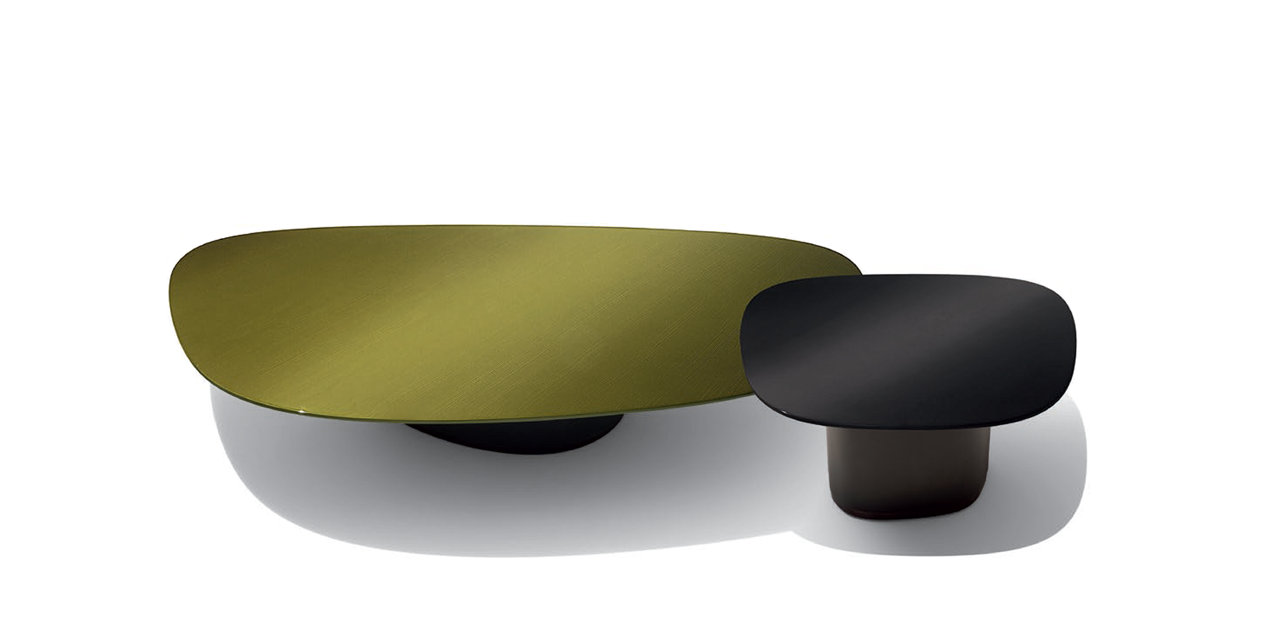 Galet Low Tables By Ludovica Roberto Palomba For Giorgetti Stone Graduated Color Lacquer Or Glass Tops On Leather Bases 4 Sizes Glass Top Glass Low Tables [ 900 x 1800 Pixel ]