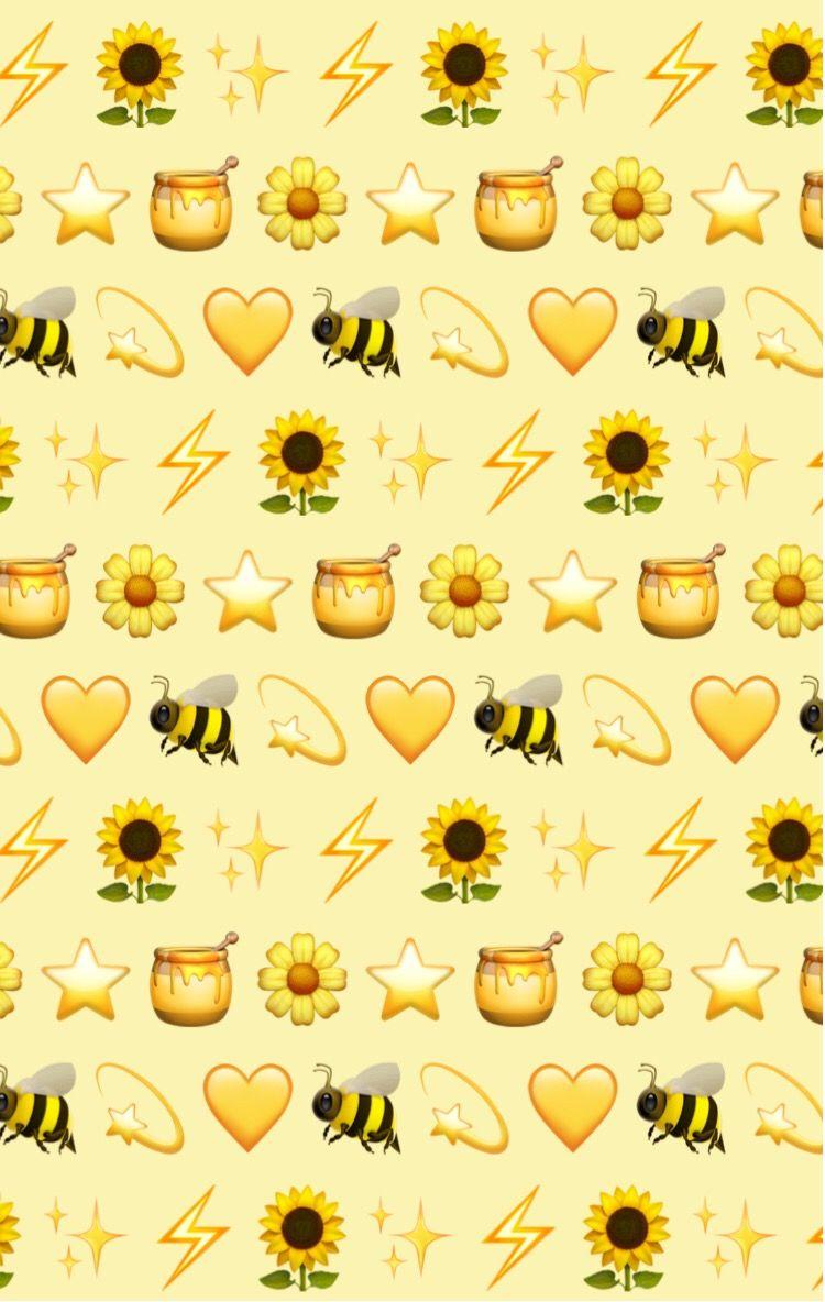 And V3 Yellow Pattern Patternator Aesthetic Emoji Background Freetoedit Bees Honey Papel De Parede Original Papel De Parede Tumblr Planos De Fundo