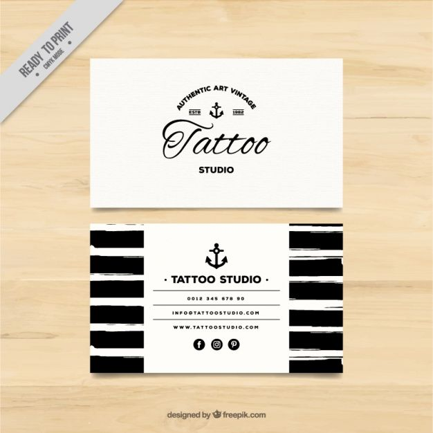 Hand painted business card for a tattoo studio Free Vector My - business invitation templates