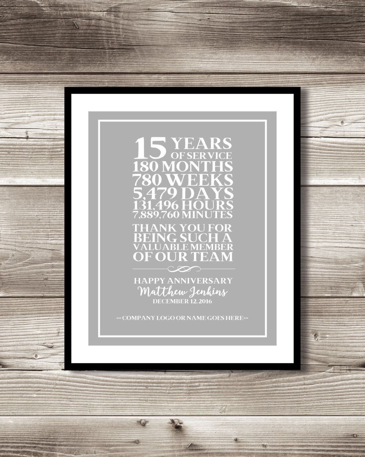 15 Year Work Anniversary Print Customizable Thank You Gift Appreciation Employee Recognition 15 Years Of Service Gift Idea Work Anniversary 25 Year Anniversary 20 Year Anniversary Gifts