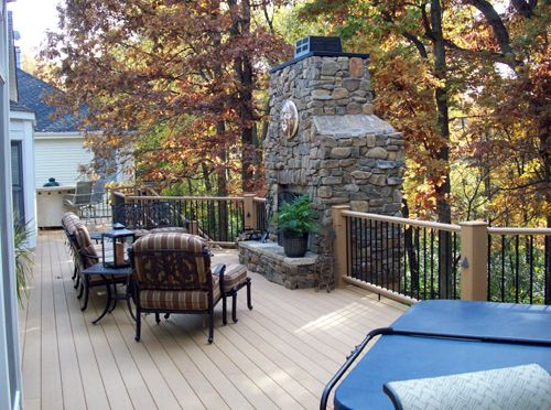 Chesterfield custom deck with grilling area on one end, hot tub on ...