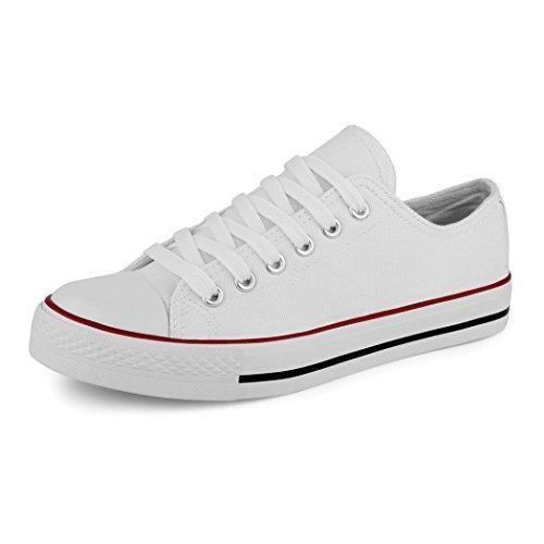 napoli-fashion - Zapatillas de tela para hombre, color blanco, talla 38