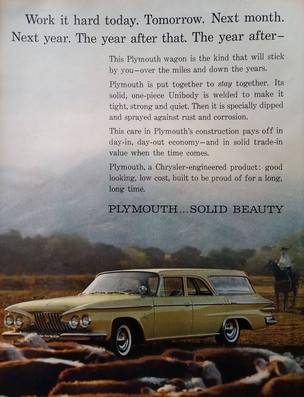 Classic Car 1962 Plymouth Savoy Station Wagon Gold Cowboy & Steers ...