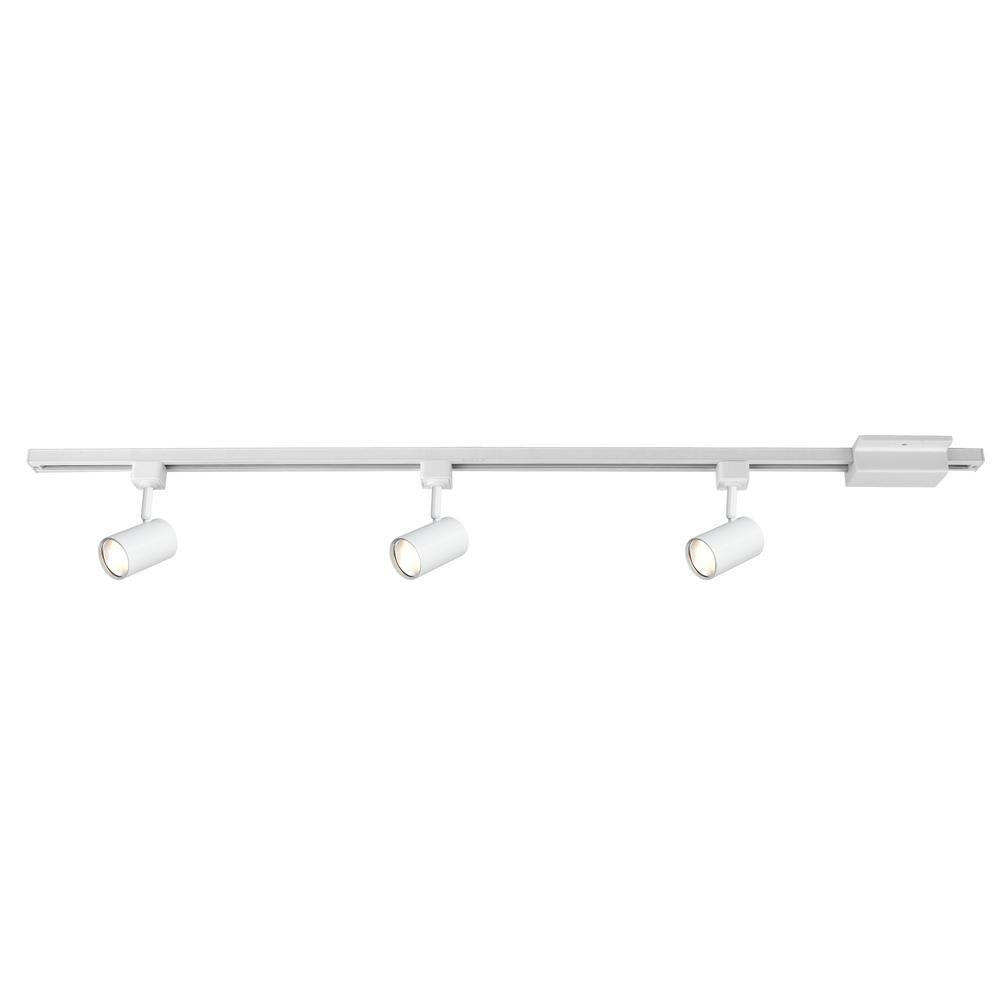Hampton Bay 4 Ft 3 Light White Led Linear Track Lighting Kit With Mini Cylinder Step