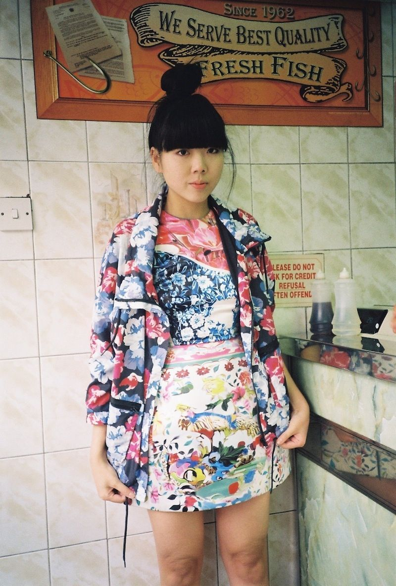 Susie Bubble in Mary Katrantzou for Topshop bowl dress & Monki floral parka