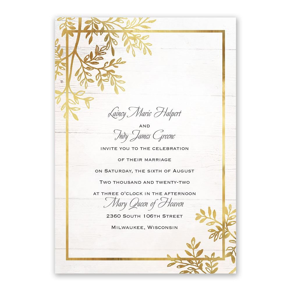 Country Glam - Invitation with Free Response Postcard | Gold ...