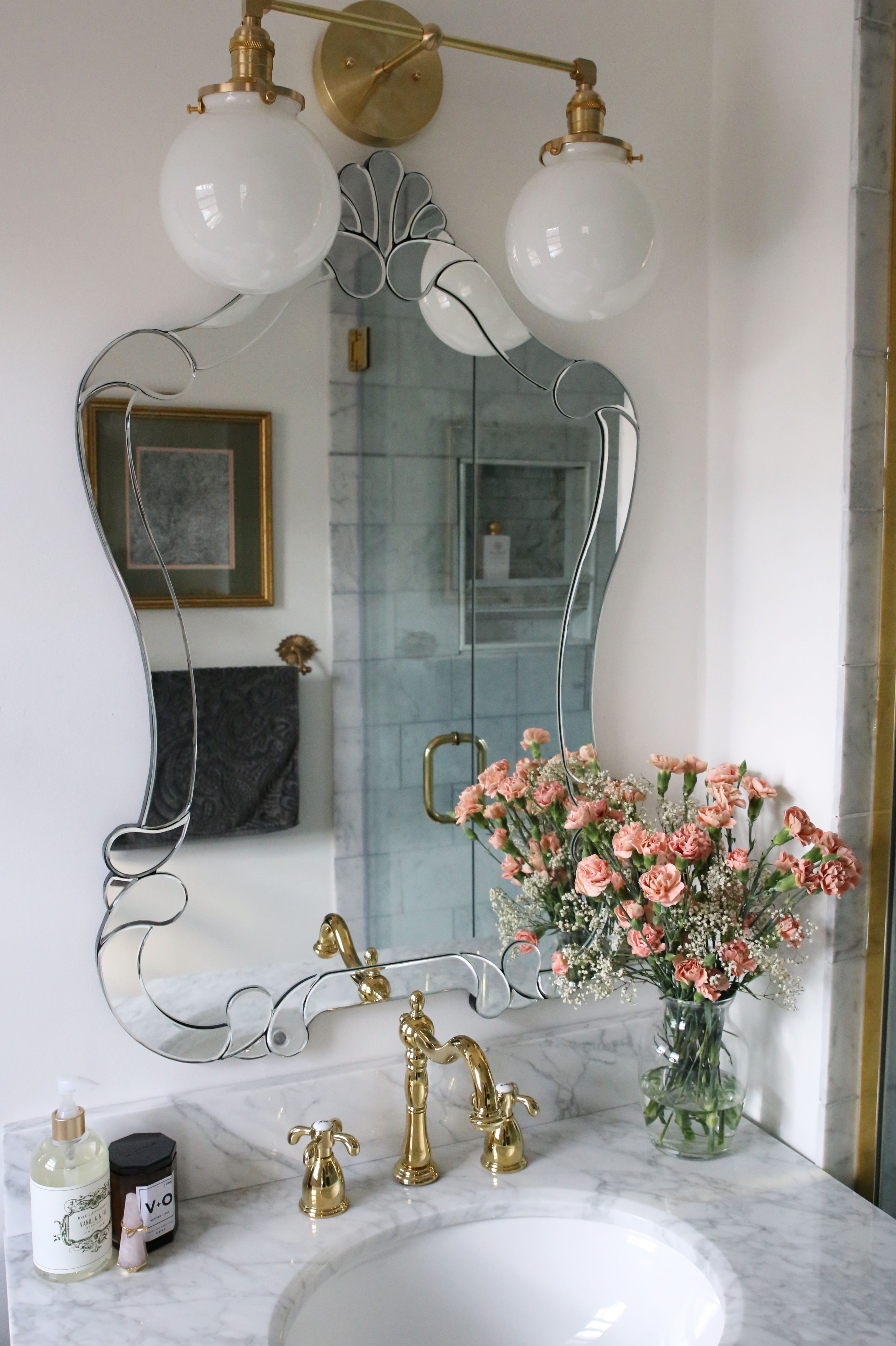 Photo of One Room Challenge, The Reveal: A Small Luxe Parisian Master Bathroom • A Glass of Bovino