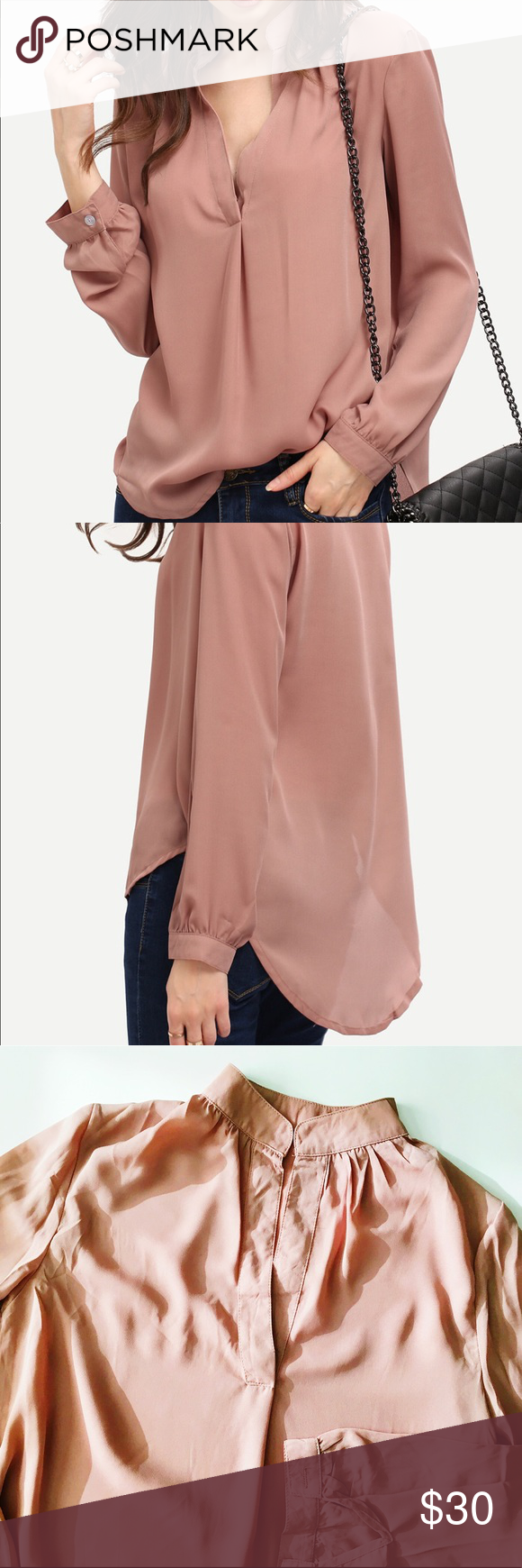 Dusty rose flowy long sleeve blouse boutique my posh picks