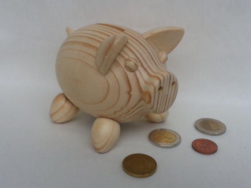 gedrechseltes Holz-Sparschwein von Pfiffiges aus Heu, Wolle und Holz auf DaWanda.com