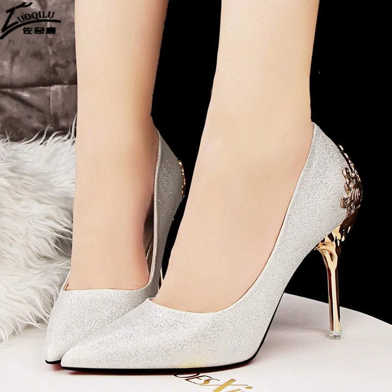 460815376389 Gorgeous Gold Heel Woman Shoes
