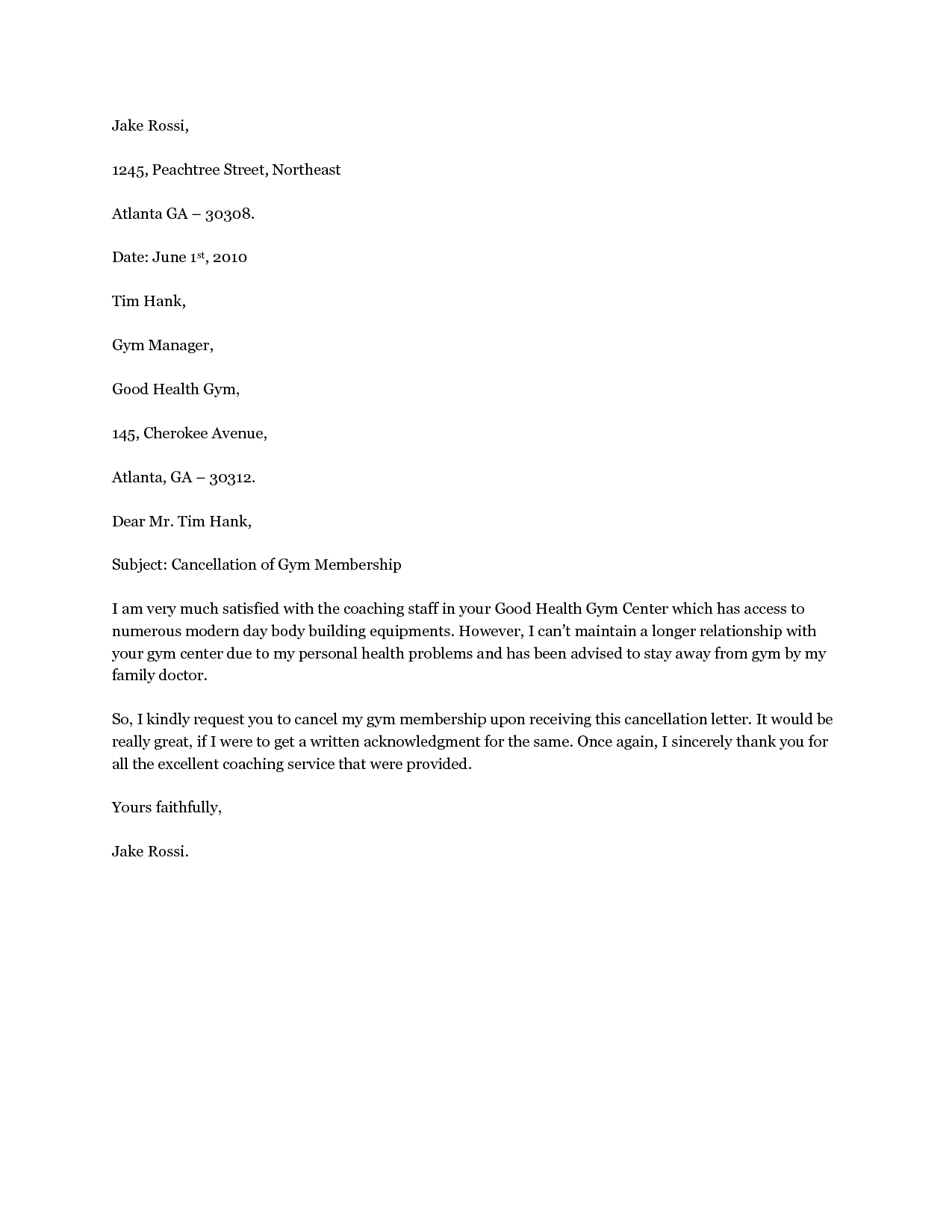 Cancel gym membership letter cancel gym membership for Gym membership cancellation letter template free