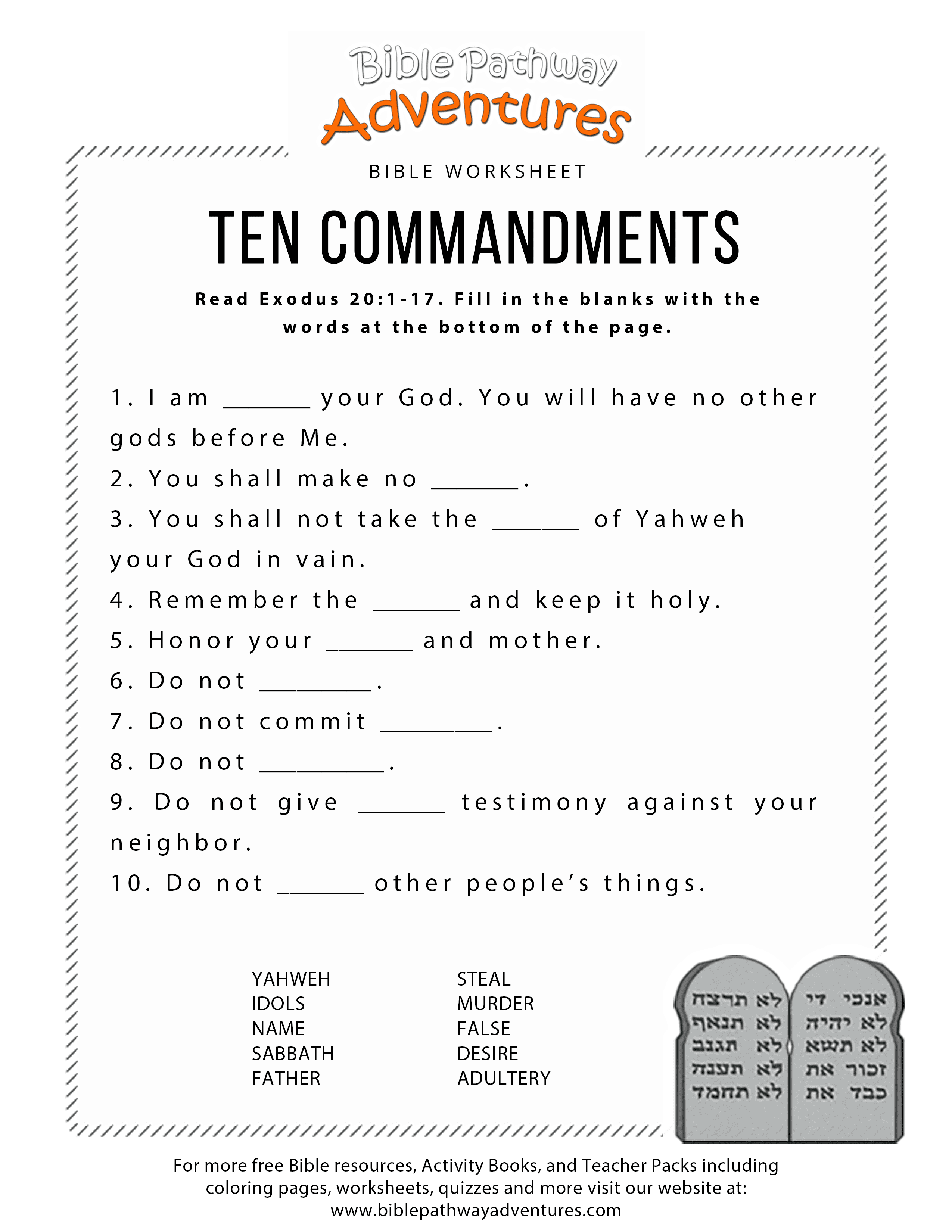 Ten Commandments Worksheet For Kids With Images