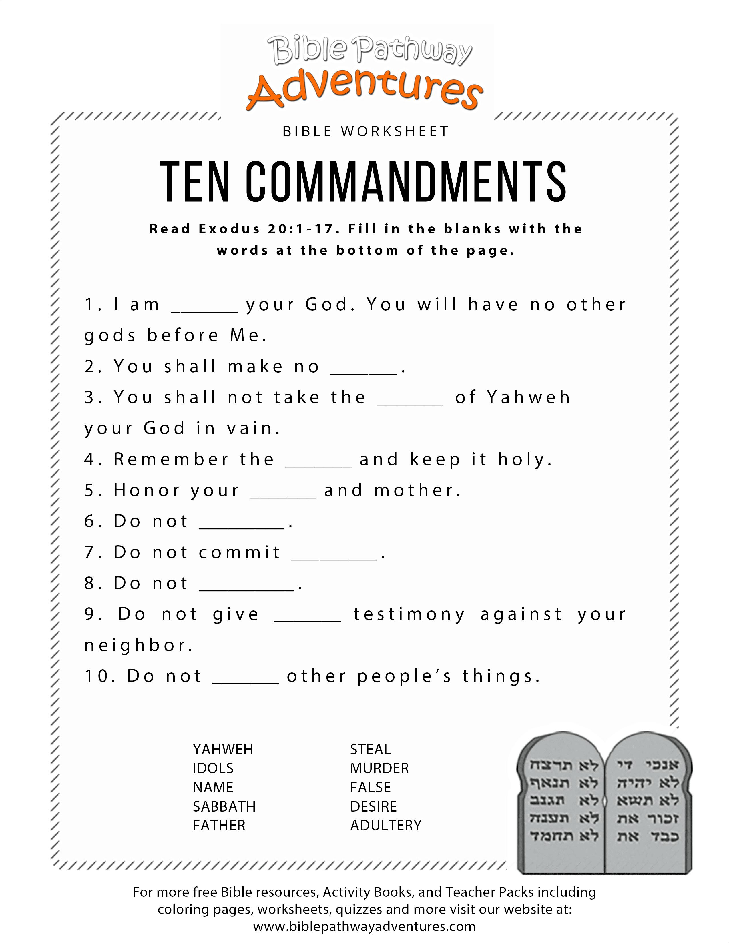 Ten Commandments Worksheet For Kids