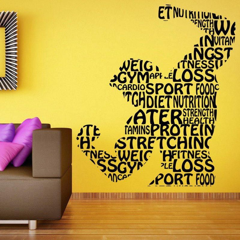Gym Sticker Fitness Decal Body-building Posters Vinyl Wall Decals ...