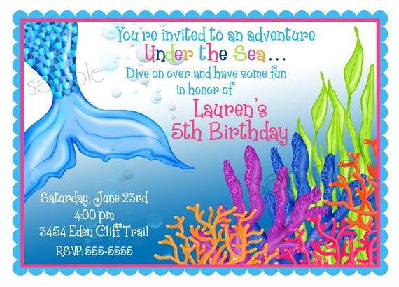 Mermaid Invitations Birthday Party Under The Sea Ocean Children Kids Personalized