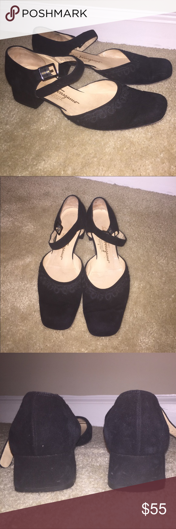 Velvety Ferragamo Black Shoes Beautiful older pair of Ferragamo Boutique shoes with ankle strap and wonderful stitching around soft velvety feel exterior. These shoes are a 9B, made in Italy. As seen in the pictures, these shoes show moderate signs of wear. Offers welcome. Ferragamo Shoes Heels
