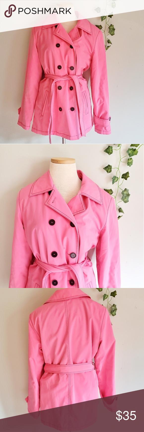 Esprit Womens Medium Pink Cotton Trench Jacket Cotton Coat Trench Jacket Womens Medium [ 1740 x 580 Pixel ]