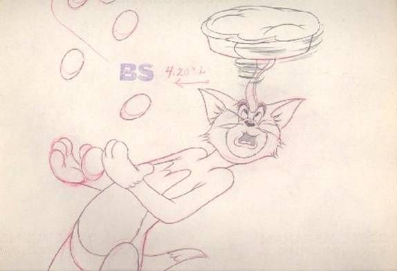 Production Drawing of Tom Cat from Mouse Cleaning