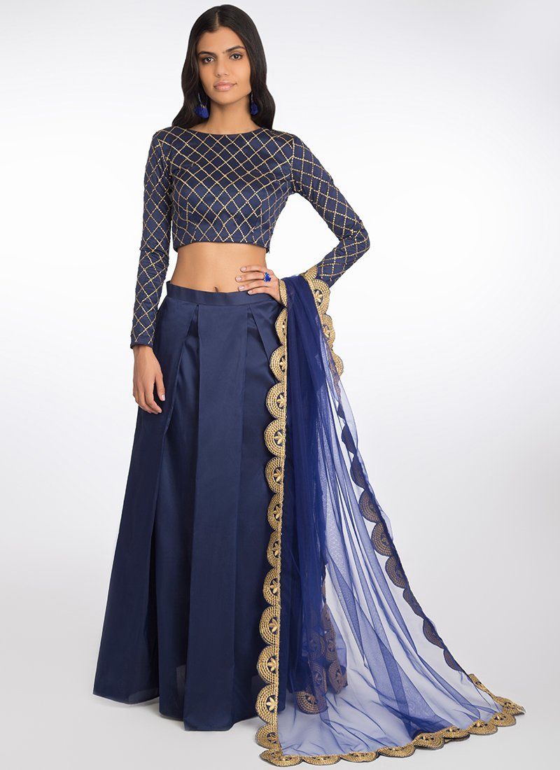 daeac7921d0cc Deep Blue Embroidered Tafetta Lehenga features a dhupioni silk blouse and  bottom with santoon inner alongisde a net dupatta. Embroidery work is  completed ...