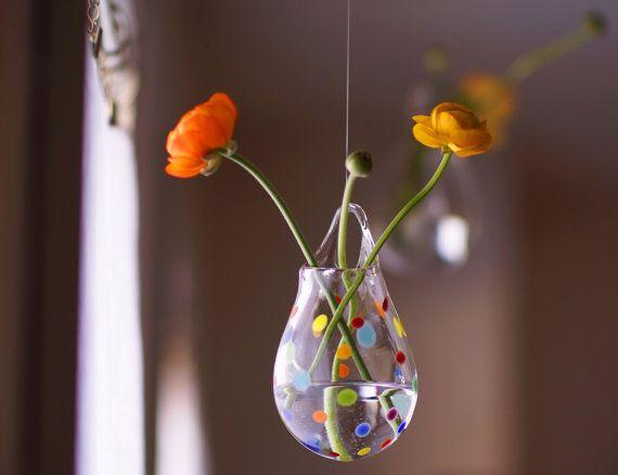 Hanging Glass Vase Blown Glass Wall Vase Polka Dot Glass Flower