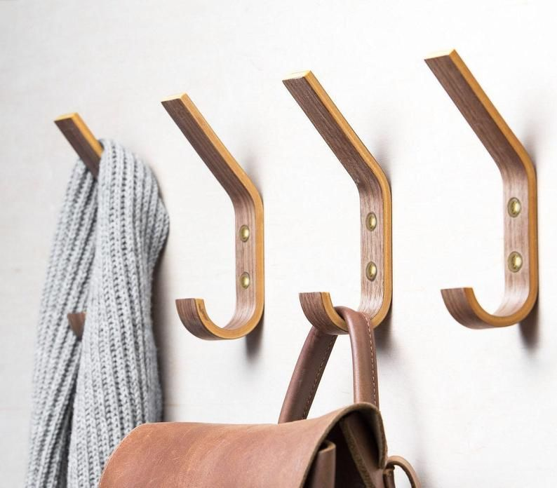 Set Of 4 Wooden Mounted Single Wall Hooks For Storage Organisation