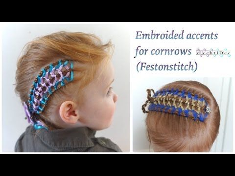 Cute hairstyle ribbon : Embroided ribbon accents for cornrows headband Geborduurde