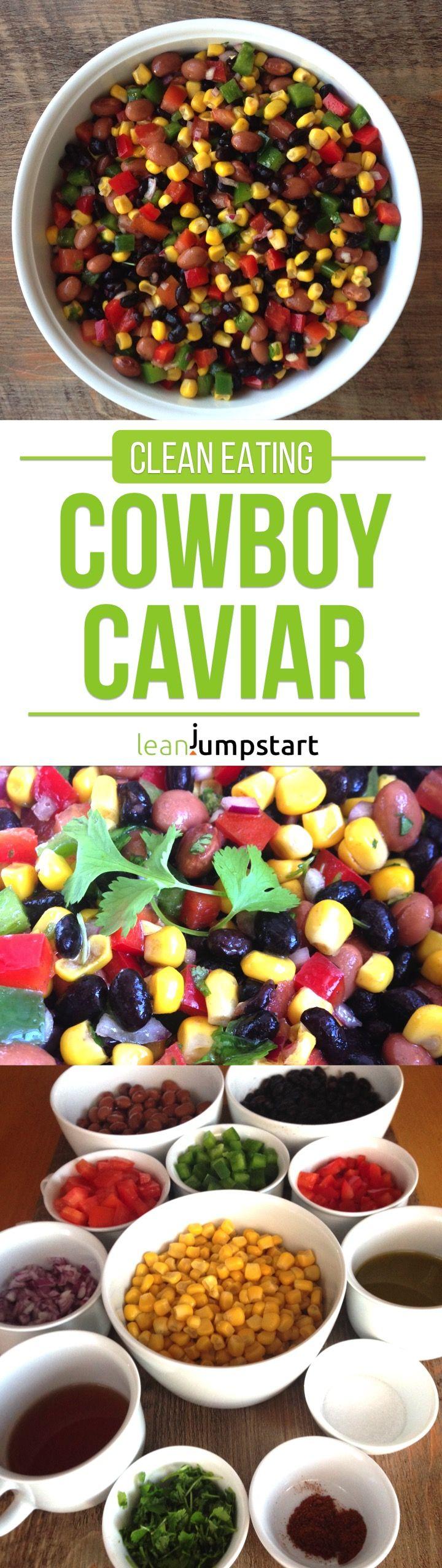 clean cowboy caviar - just plain good & easy bean salad, packed with colorful, fresh ingredients #cowboycaviar #cleaneating #newyear via @leanjumpstart #cowboycaviar