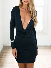 Bodycon Kleid mit tiefem V-Ausschnitt-marineblau