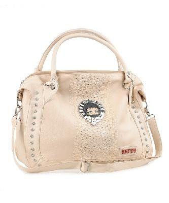 "Betty Boop 15"" x 11"" x 6.5"" High Fashion Handbag- Beige (Free Shipping!)"