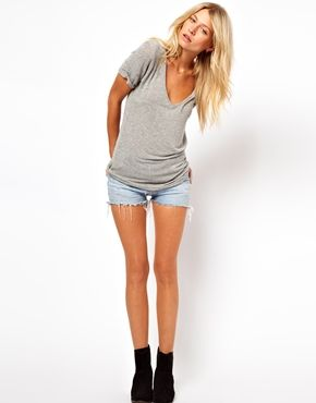 grey tee + denim shorts