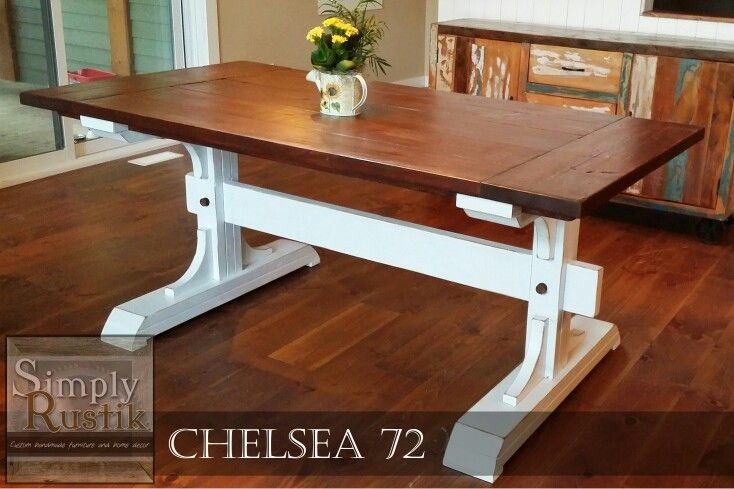 Handmade Double Pedestal Farmhouse Dining Table The Chelsea 72 With An American Walnut Stained Top And Dining Table Rustic Dining Table Farmhouse Dining Table