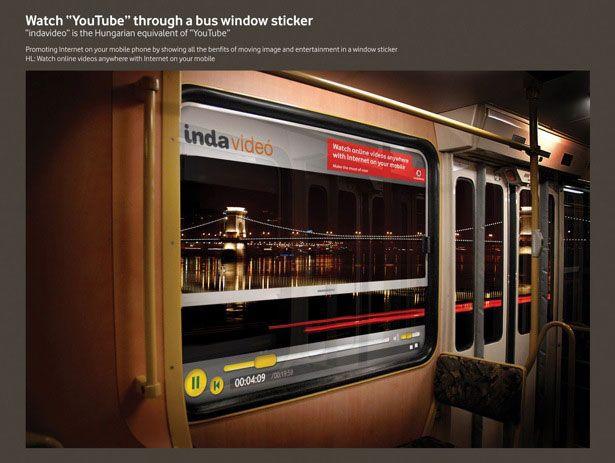 Vodafone Bus Window Sticker Guerilla Marketing Example - Vinyl stickers for marketing