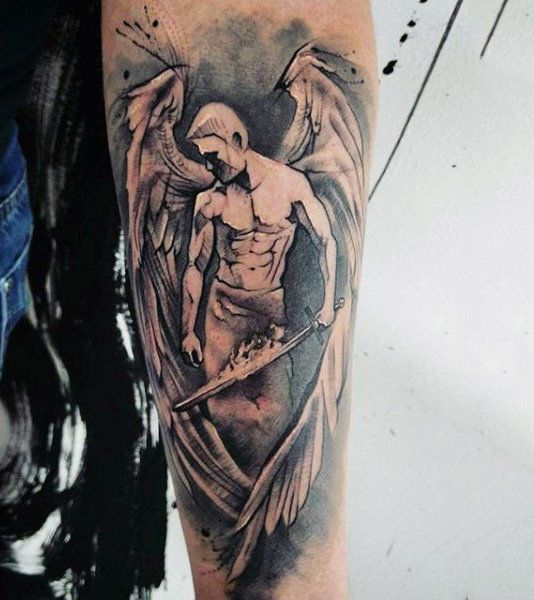 Mens Forearms Handsome Guardian Angel Tattoo Tattoos Piercings