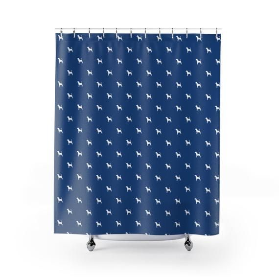 Beagle Pattern Shower Curtain Dog Pet Blue