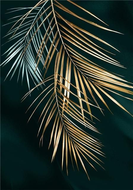 Photo of Modern Abstract Plant Leaves Luxury Poster Home Decor Nordic Canvas Painting Wall Art Print Gold Decor for Living Room Painting – 40x60cm no frame / C