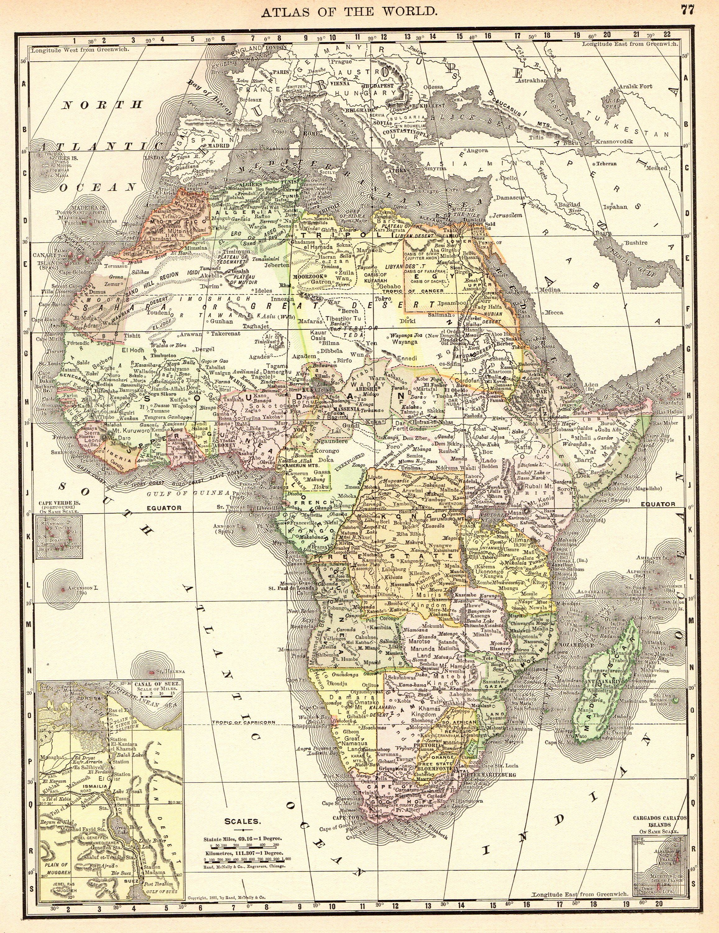 1892 Antique Map Of Africa Vintage Africa Map Gallery Wall Art