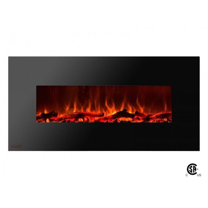 Royal - Wall Mount Electric Fireplace with Logs - 50 inch